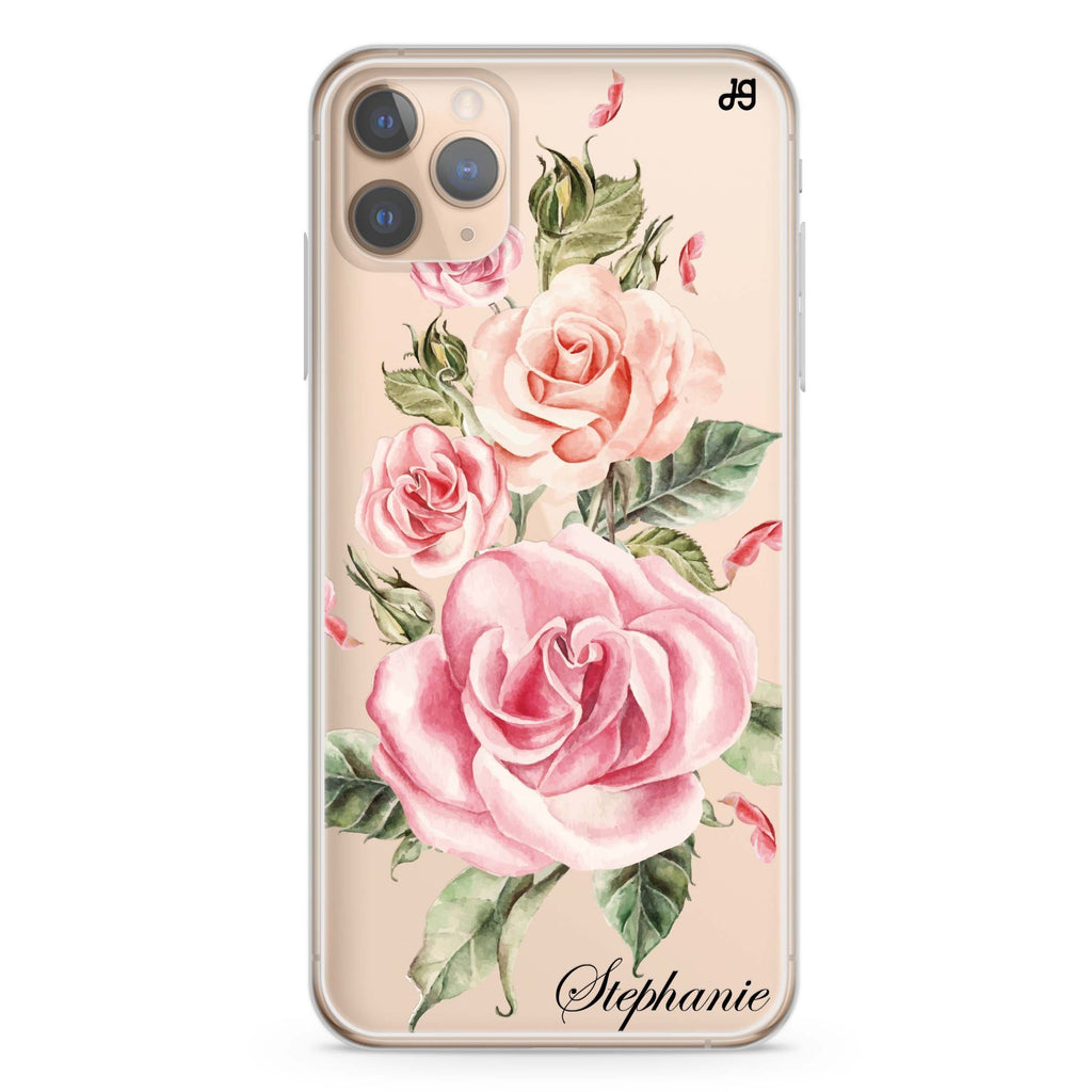 Pink Watercolor Floral iPhone 11 Pro Max Soft Clear Case
