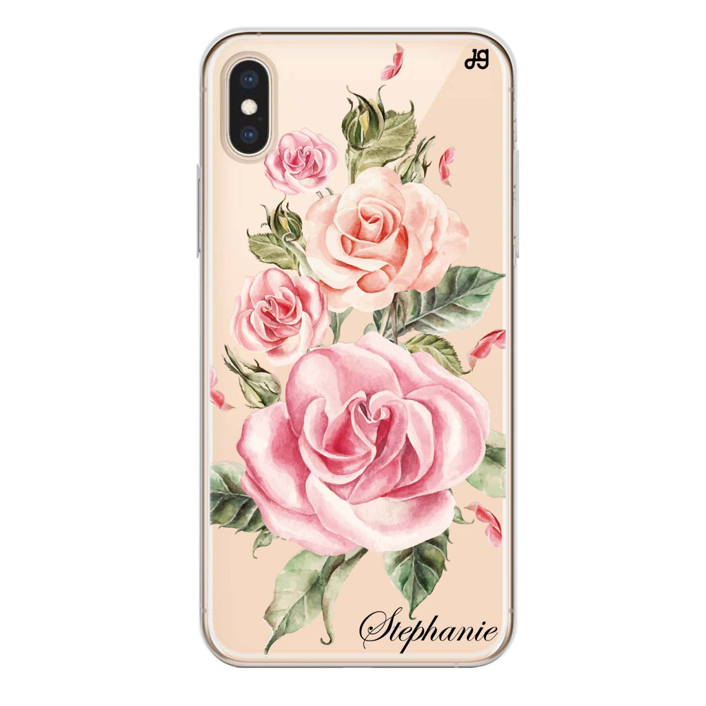 Pink Watercolor Floral iPhone XS Soft Clear Case