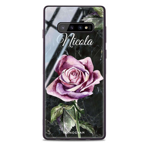Black Marble Rose Samsung S10 Plus Glass Case