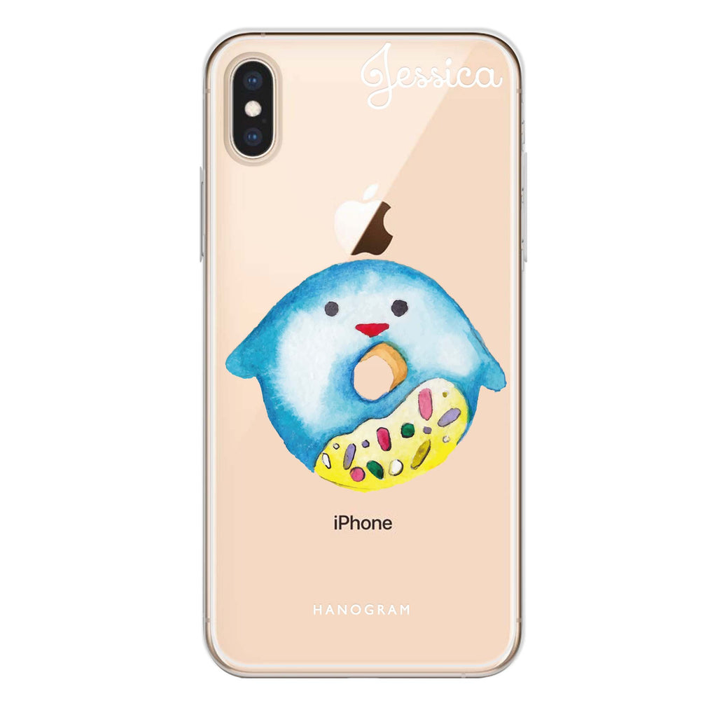 Sweet donut penguin iPhone XS Soft Clear Case