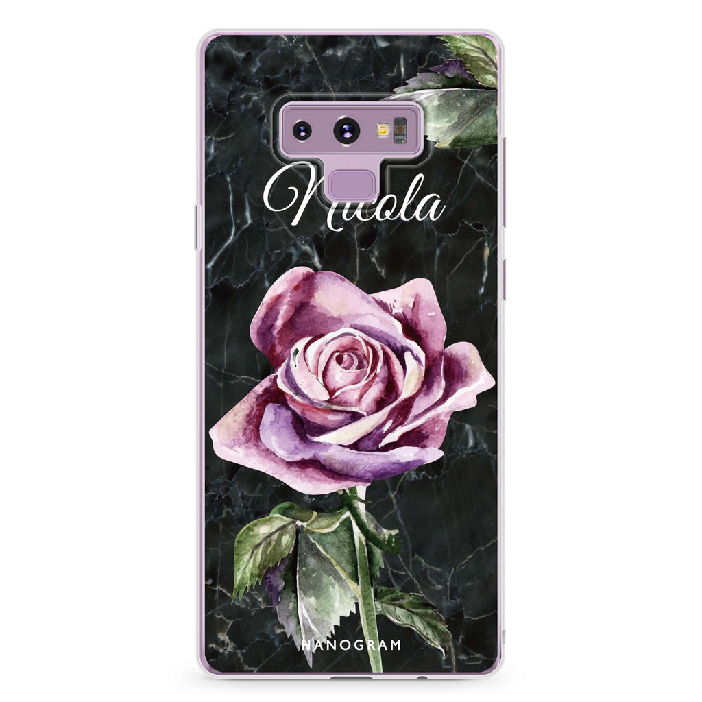 Black Marble Rose Samsung Note 9 Soft Clear Case