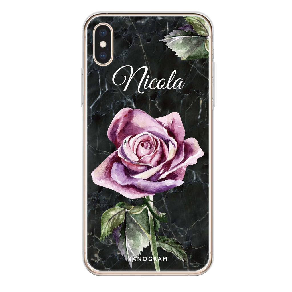 Black Marble Rose iPhone XS Soft Clear Case