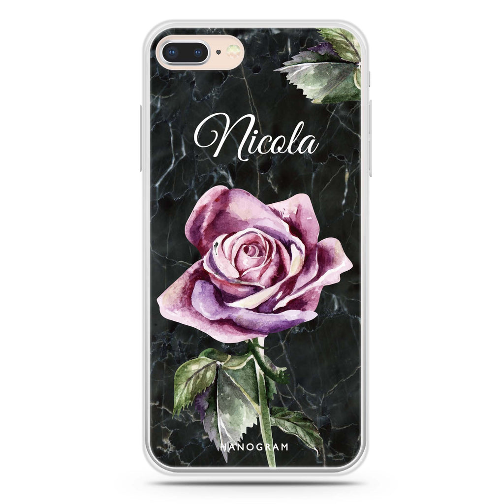 Black Marble Rose iPhone 8 Soft Clear Case