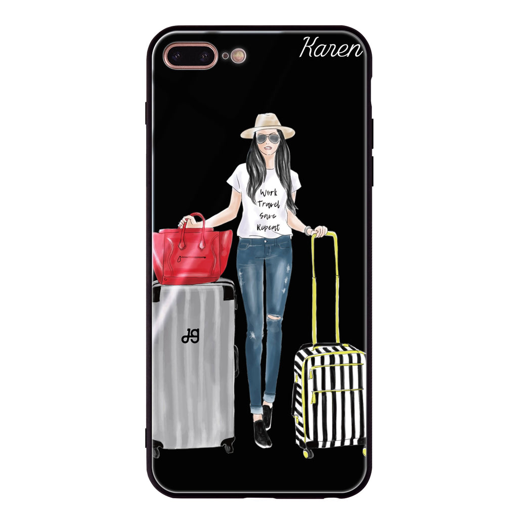 Travel girl I iPhone 8 Plus Glass Case