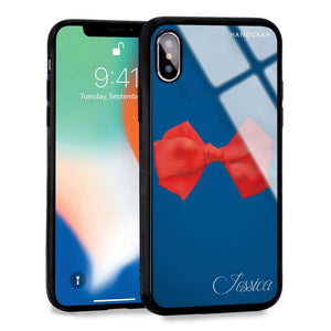 Red Bow Princess Blue Glass Case