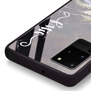 Floral & Black Marble Samsung Glass Case