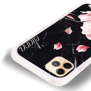 Black Marble & Floral Frosted Bumper Case