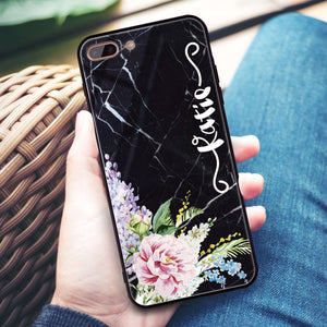 Floral & Black Marble iPhone 8 Plus Glass Case