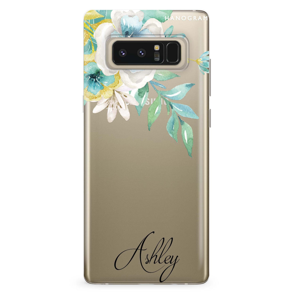Watercolor Flowers Samsung Note 8 Soft Clear Case