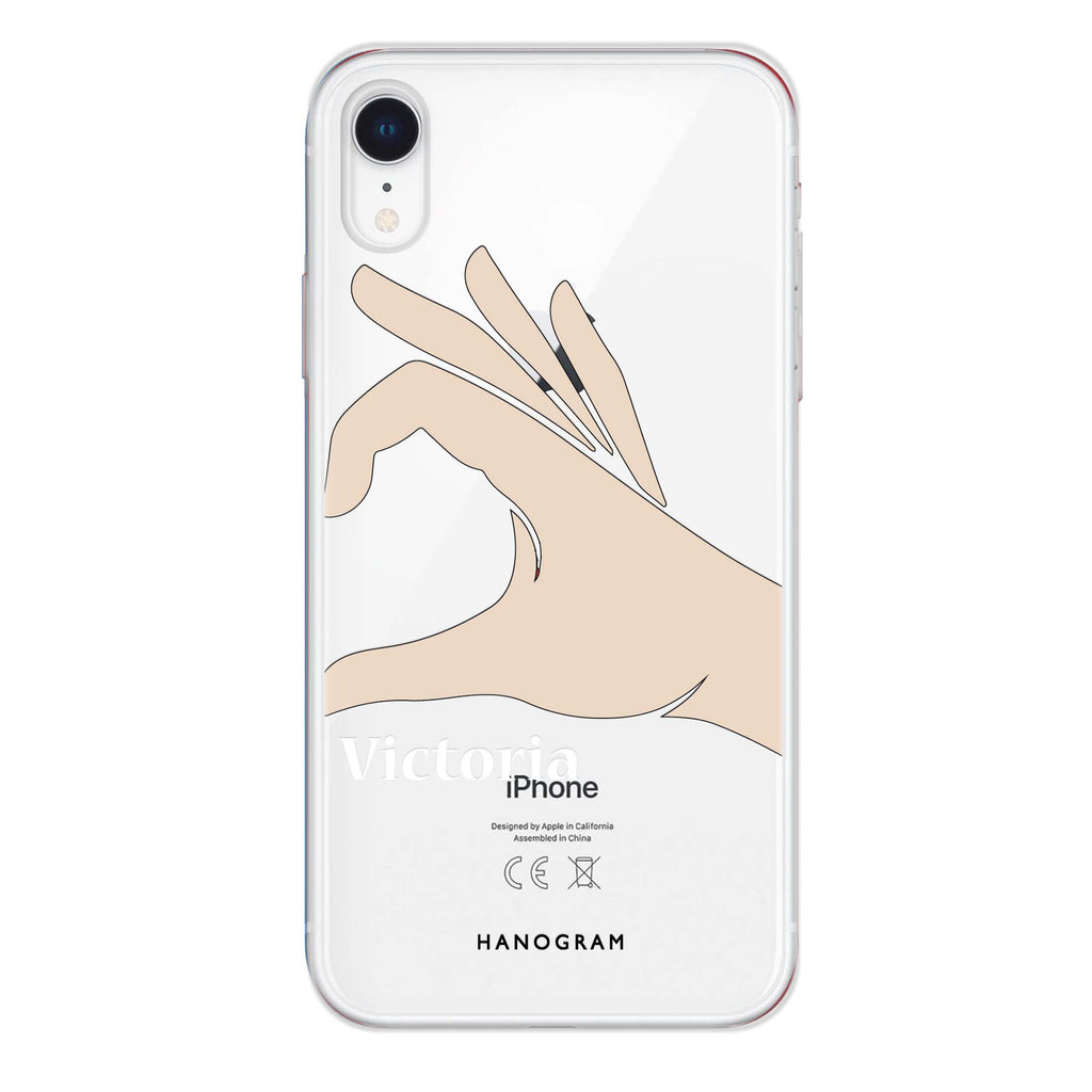 Right Hand heart iPhone XR Soft Clear Case