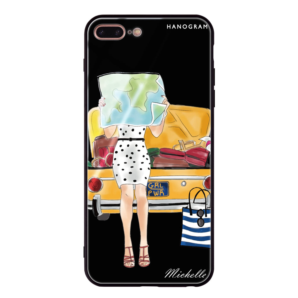 Travel girl III iPhone 8 Plus Glass Case