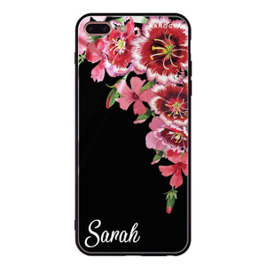 Red watercolour Floral iPhone 8 Plus Glass Case