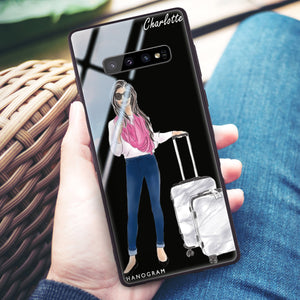Travel girl II Samsung S10 Plus Glass Case