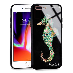 Floral Seahorse iPhone 8 Plus Glass Case