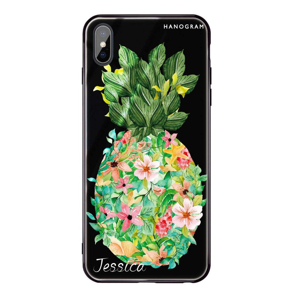 Floral Pineapple iPhone XS Max Glass Case