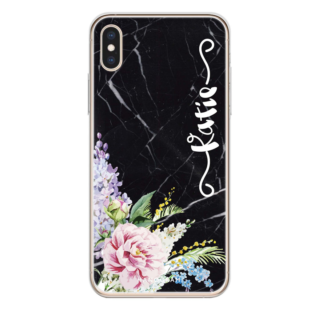Floral & Black Marble iPhone XS Max Soft Clear Case
