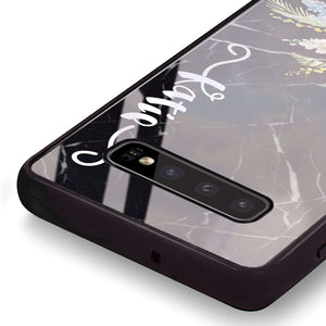 Floral & Black Marble Samsung S10 Plus Glass Case