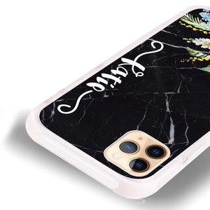 Floral & Black Marble Shockproof Bumper Case