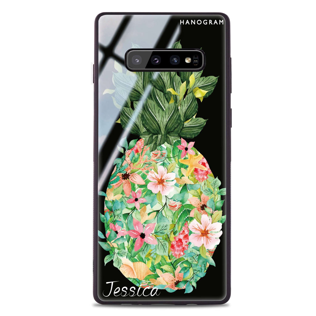 Floral Pineapple Samsung S10 Plus Glass Case