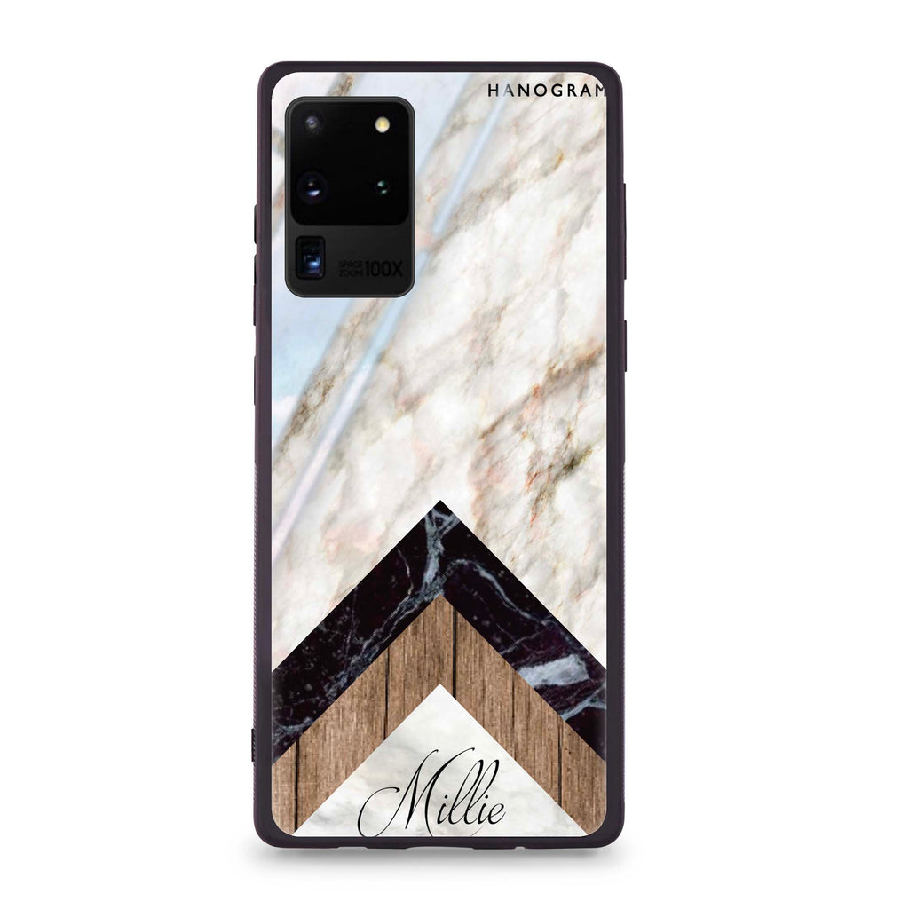 Marble & Wood Samsung S20 Ultra Glass Case