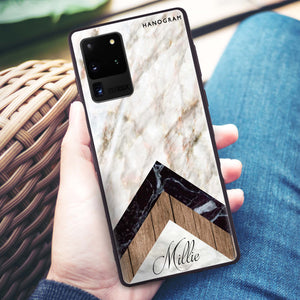 Marble & Wood Samsung Glass Case