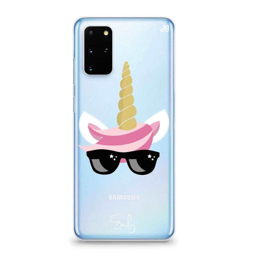 Cute Sunglasses unicorn Samsung S20 Plus Soft Clear Case