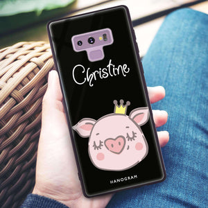 Piggy Queen Samsung Note 9 Glass Case