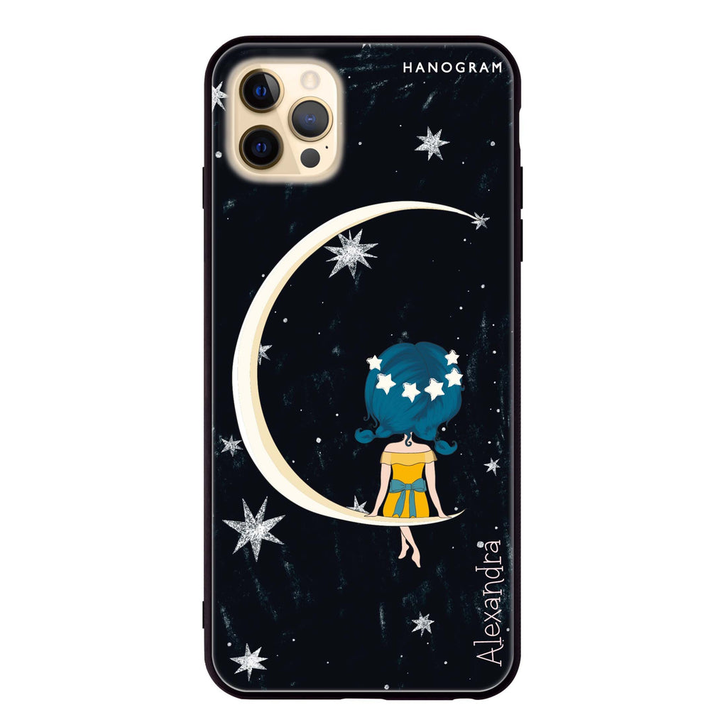 Cute Girl Moon Glass Case
