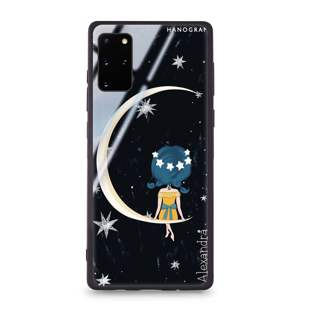 Cute Girl Moon Samsung S20 Glass Case