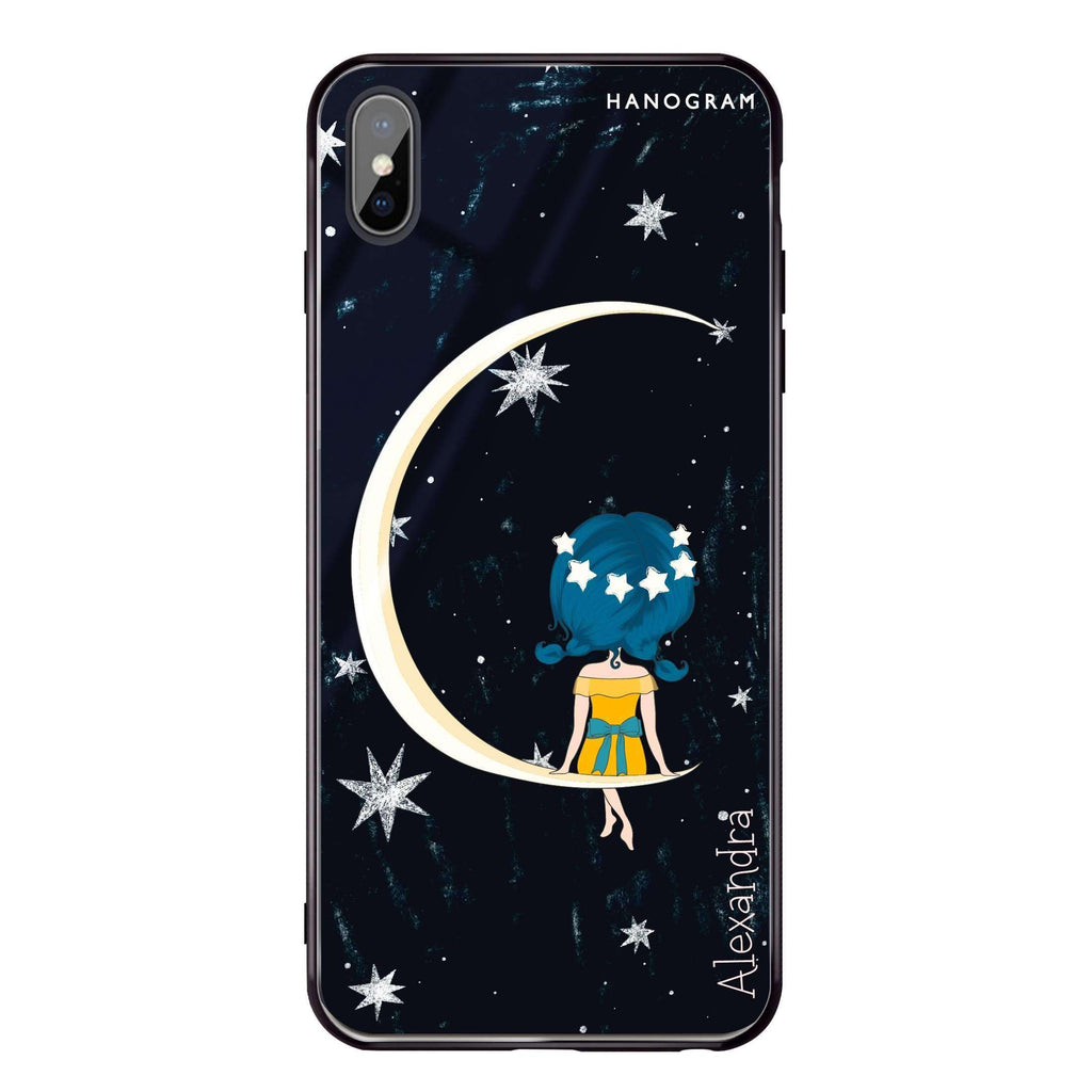 Cute Girl Moon iPhone XS Max Glass Case