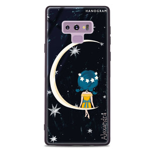 Cute Girl Moon Samsung Note 9 Glass Case