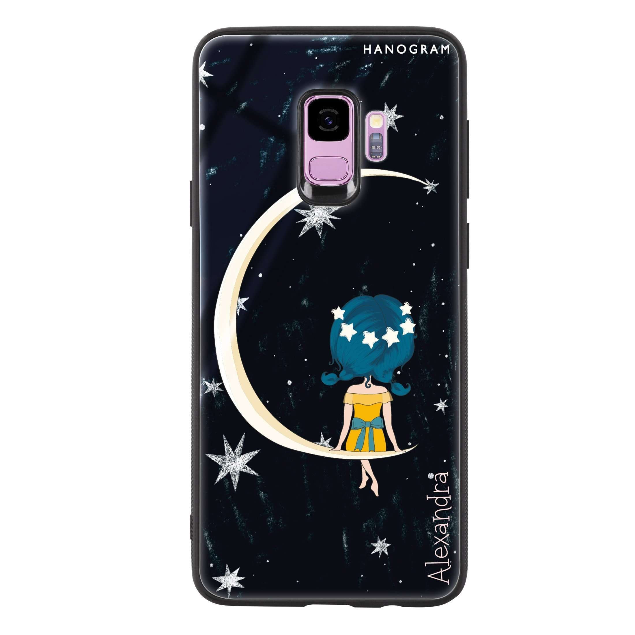 best sneakers ec241 78996 Cute Girl Moon Samsung S9 Glass Case