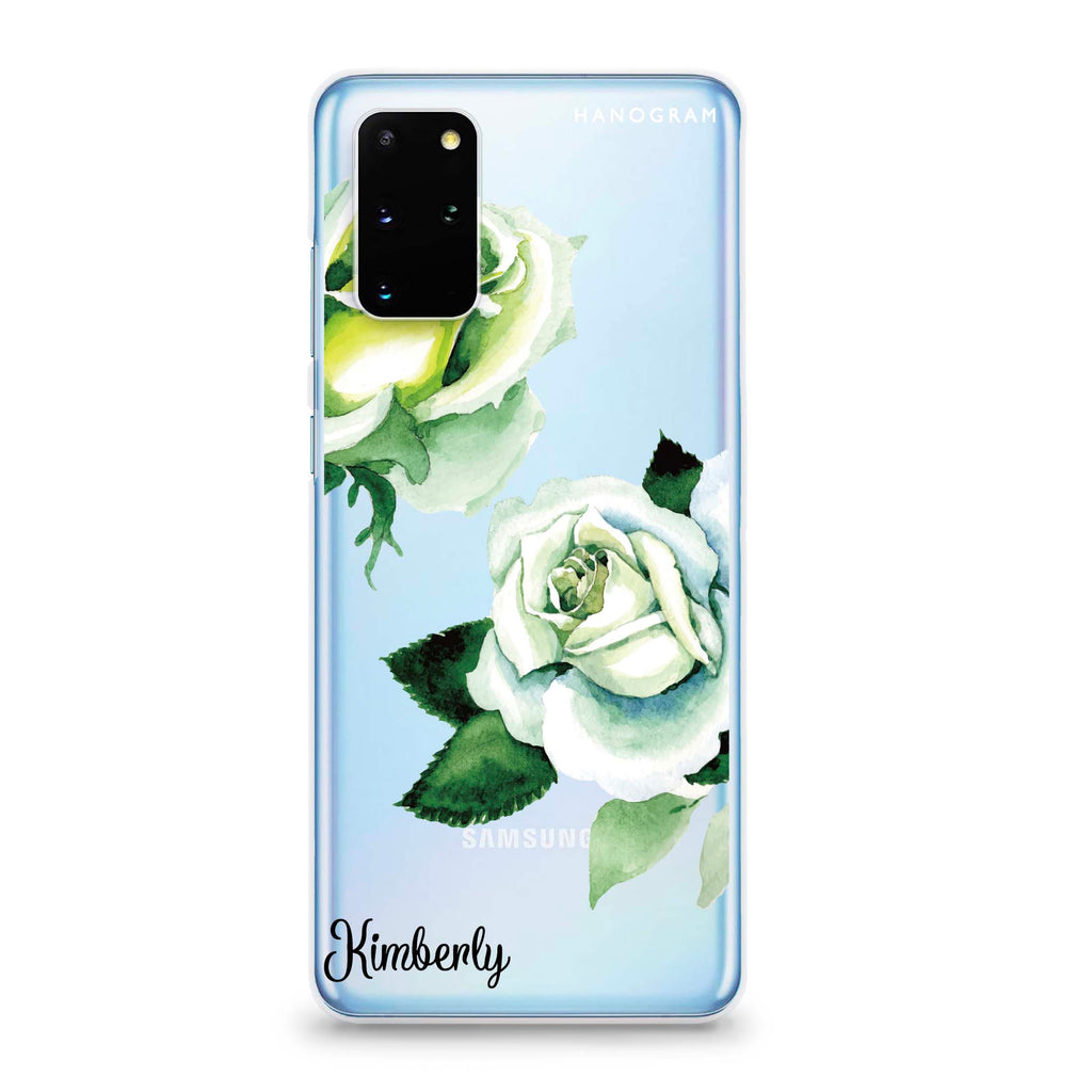 White Rose Samsung S20 Plus Soft Clear Case