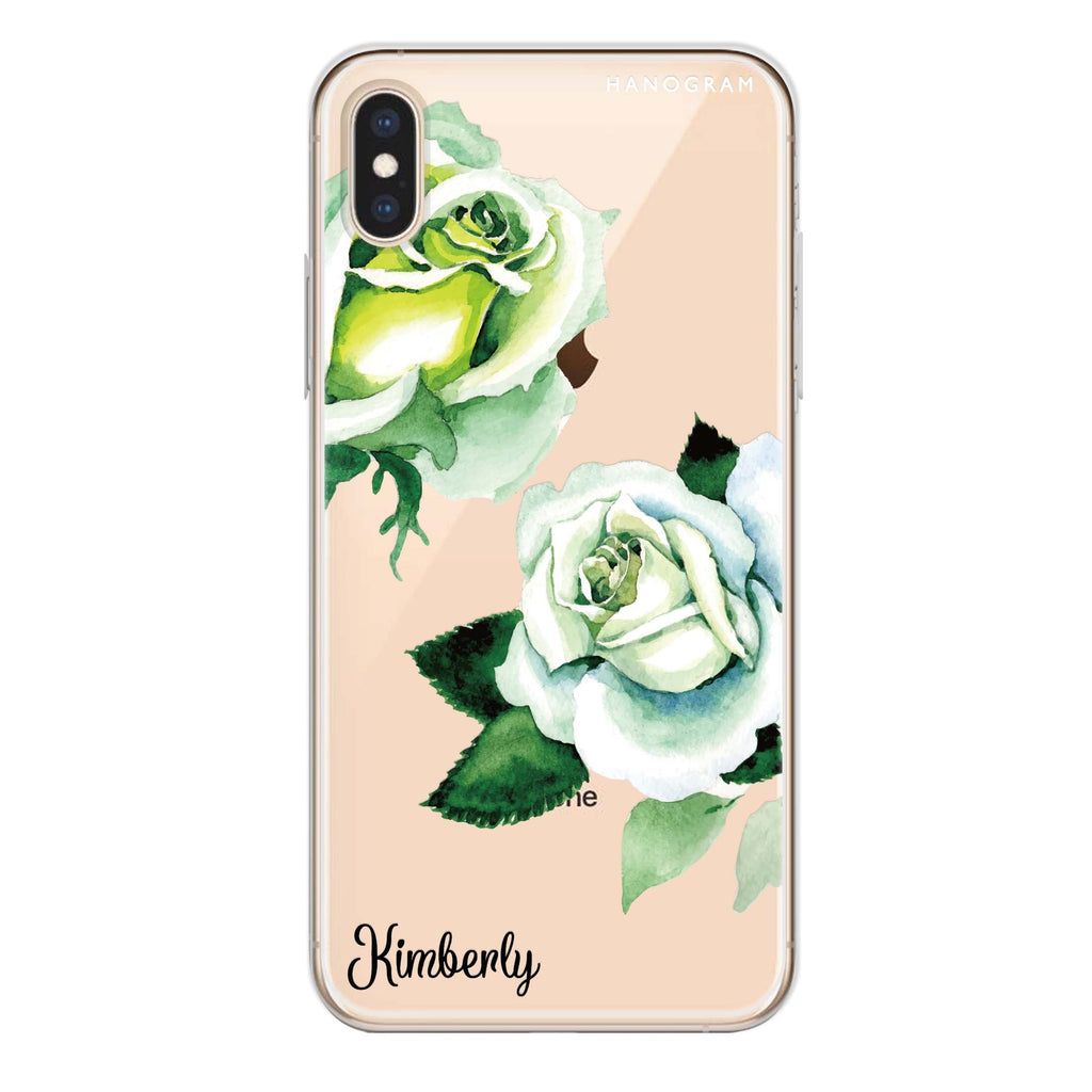 White Rose iPhone XS Soft Clear Case