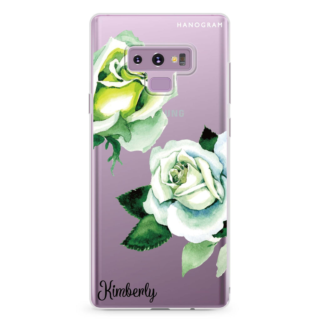 White Rose Samsung Note 9 Soft Clear Case