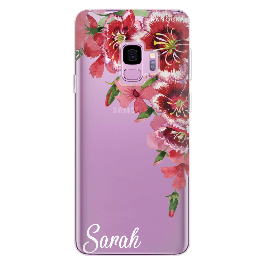 Red watercolour Floral Samsung S9 Soft Clear Case