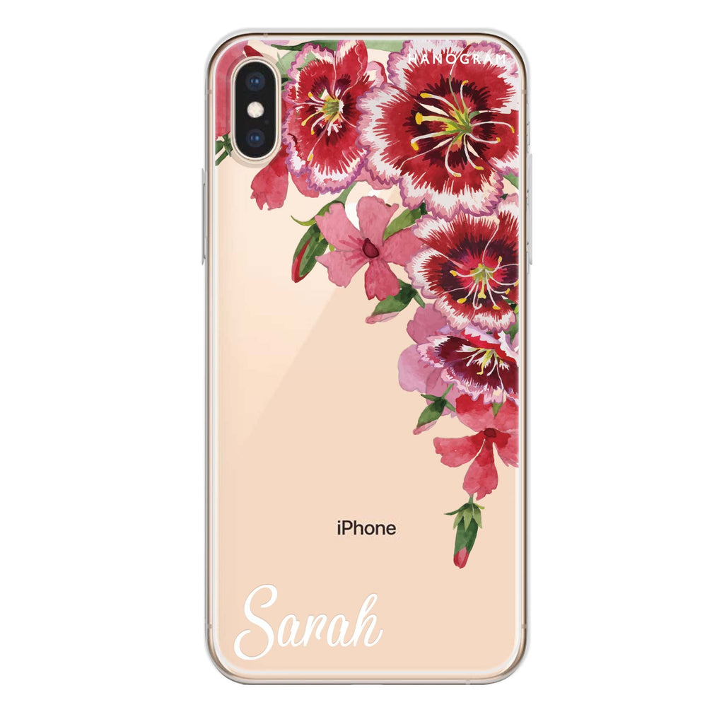 Red watercolour Floral iPhone X Soft Clear Case