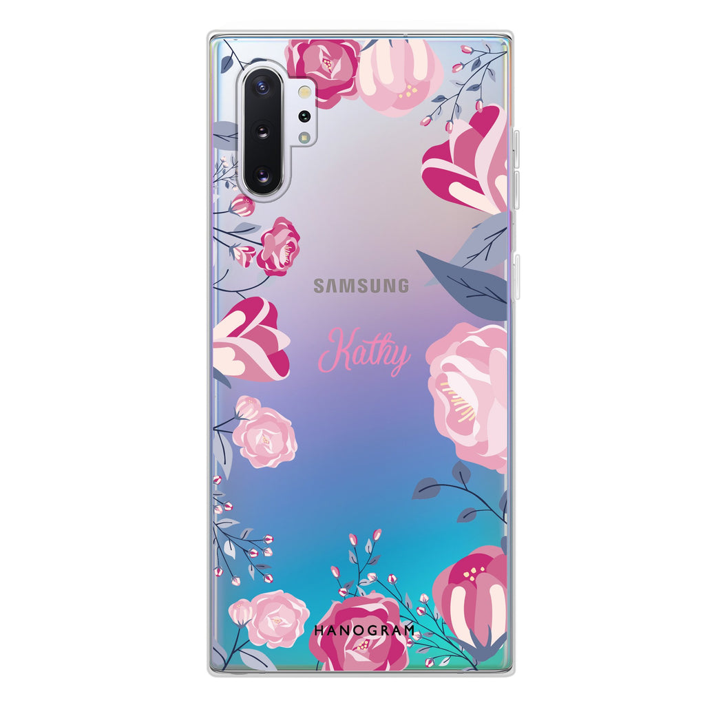 Trendy Flowers Samsung Note 10 Plus Soft Clear Case
