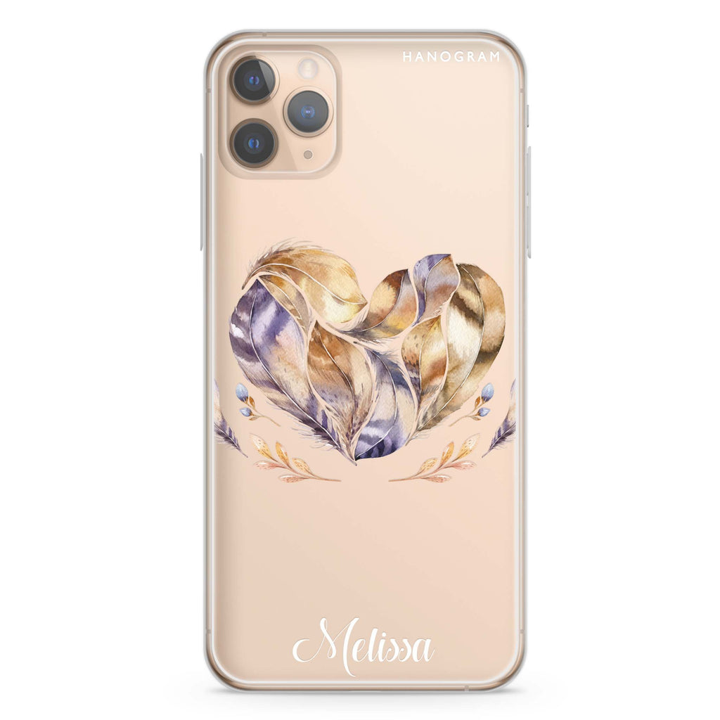 Feather Heart iPhone 11 Pro Max Soft Clear Case