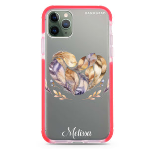 Feather Heart Shockproof Bumper Case