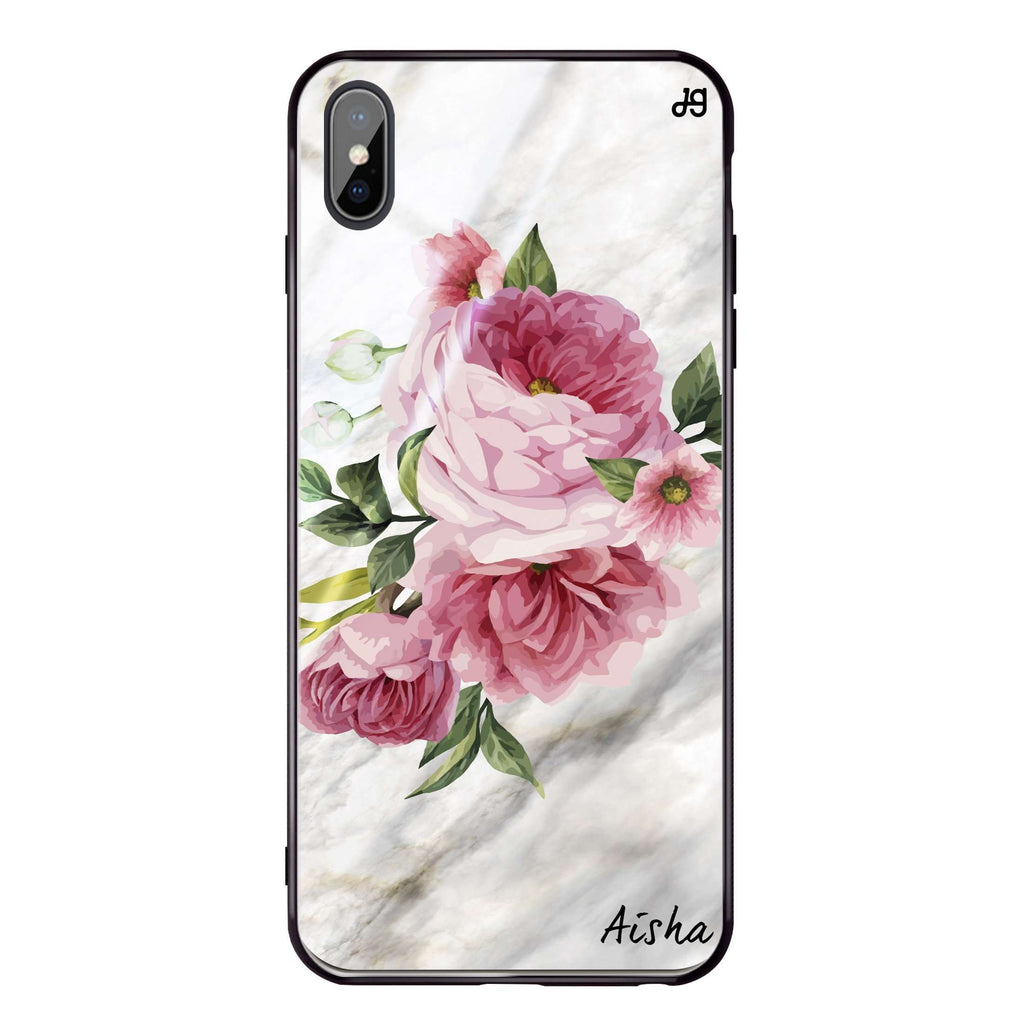 Floral & Marble iPhone XS Max Glass Case