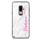 Vertical Cursive & Marble Sleek Samsung S9 Plus Glass Case