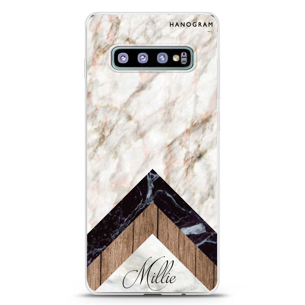 Marble & Wood Samsung S10 Plus Soft Clear Case
