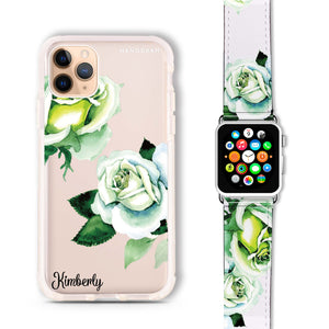 White Rose - Frosted Bumper Case and Watch Band