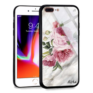 Floral & Marble iPhone 8 Plus Glass Case