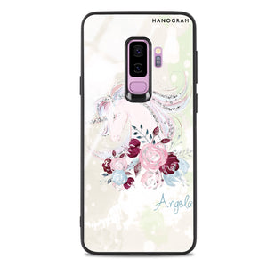 Unicorn & Floral Samsung S9 Plus Glass Case