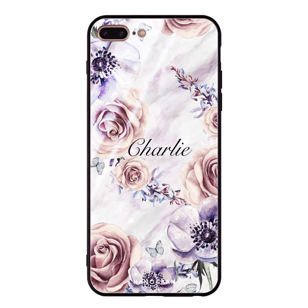 White Marble & Flower iPhone 7 Plus Glass Case