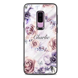 White Marble & Flower Samsung S9 Plus Glass Case