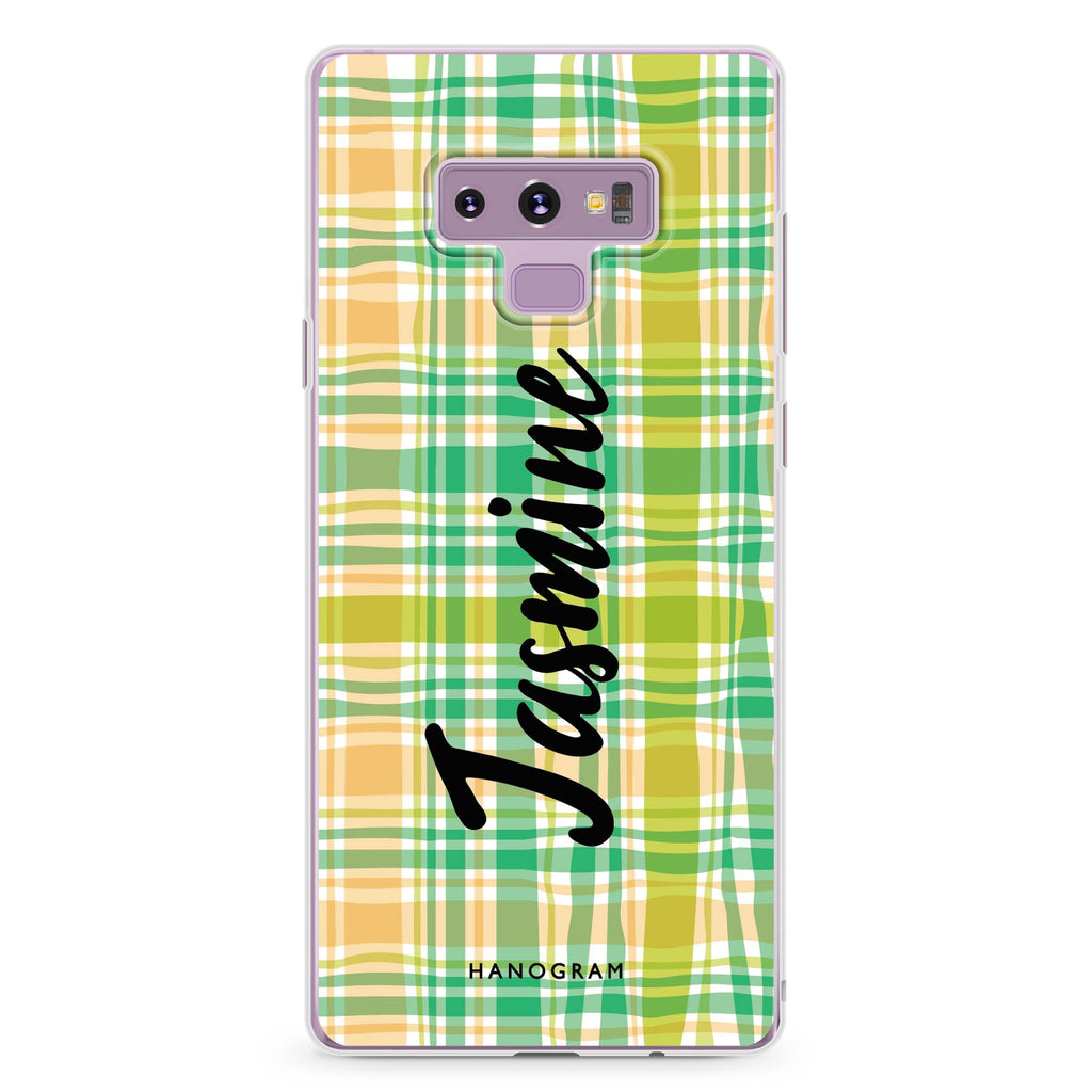 Plaid Samsung Note 9 Soft Clear Case