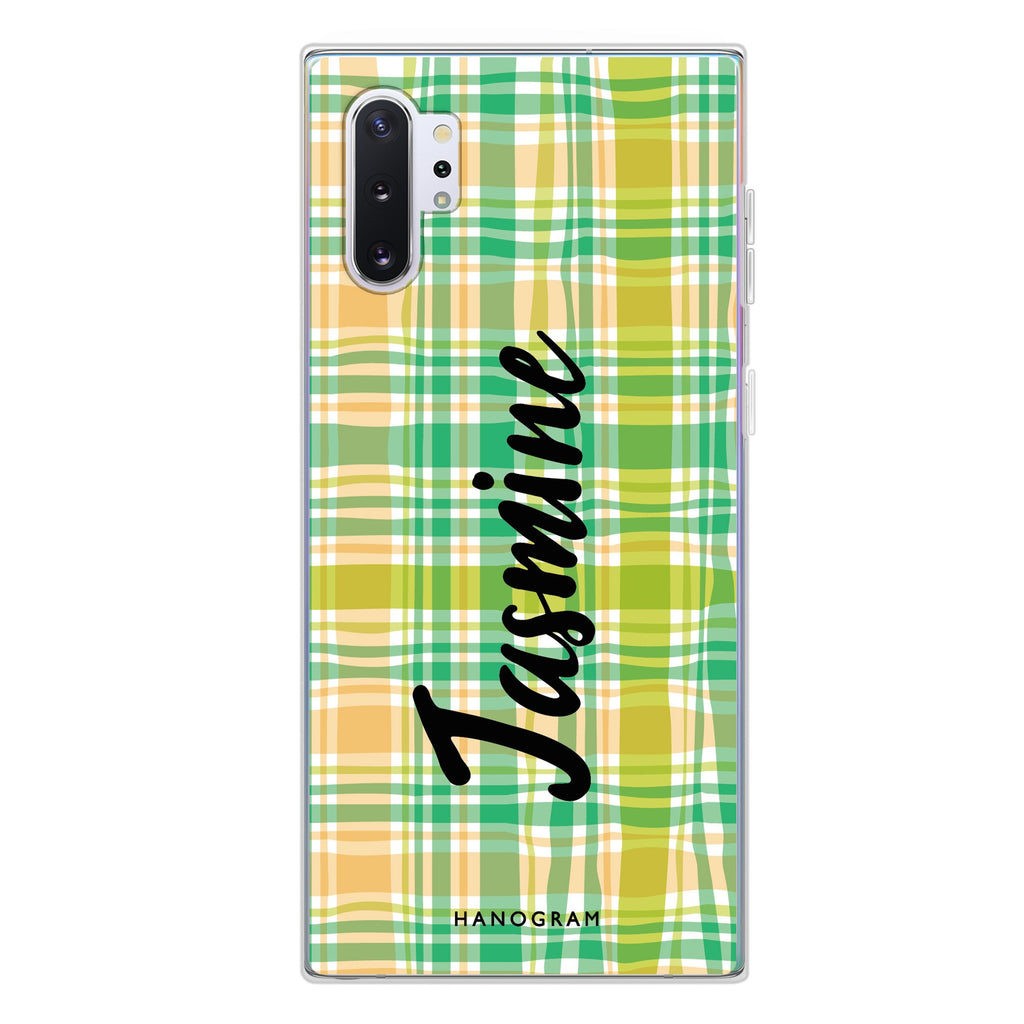 Plaid Samsung Note 10 Plus Soft Clear Case
